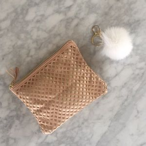 Other - makeup bag and white puff key chain puff clip
